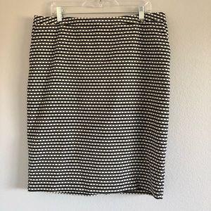 Merona Black & White Printed Pencil Skirt Sz 16